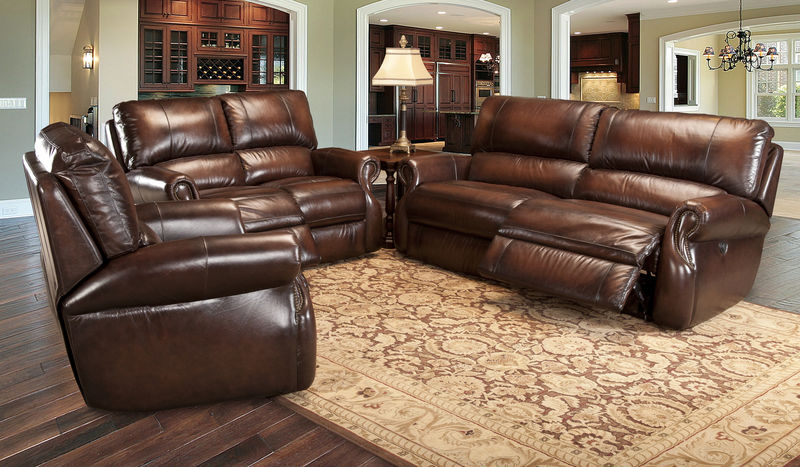 Hawthorne Reclining Leather Living Room Set