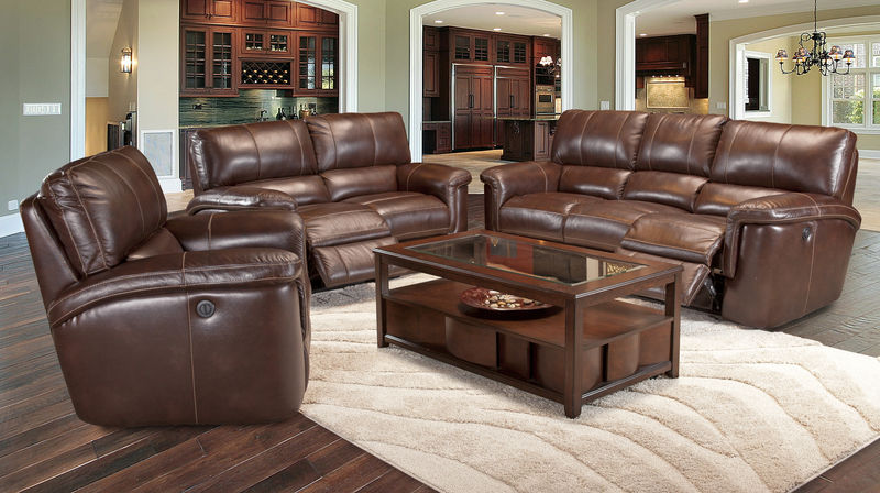 Hitchcock Reclining Leather Living Room Set