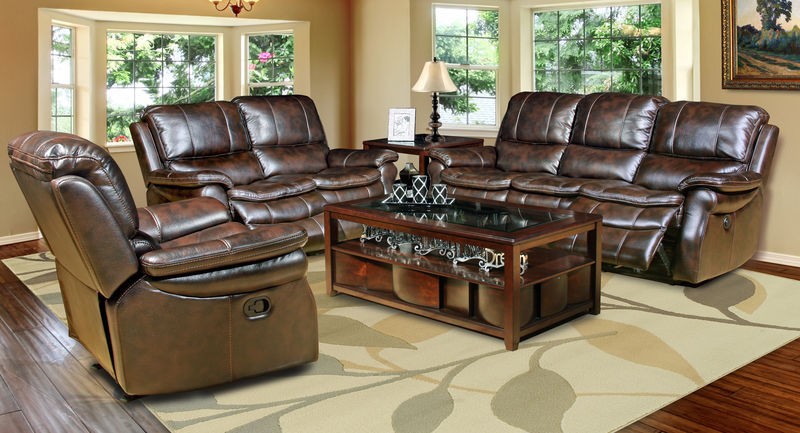 Juno Reclining Living Room Set in Nutmeg