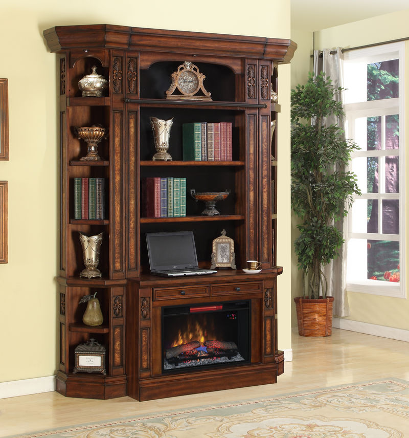 Leonardo Small Library Wall with Fireplace