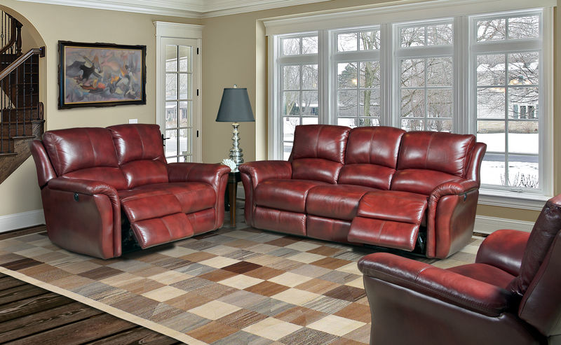 Lewis Reclining Leather Living Room Set in Lipstick
