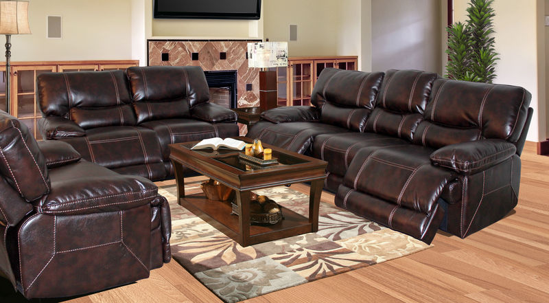 Pegasus Reclining Living Room Set in Nutmeg