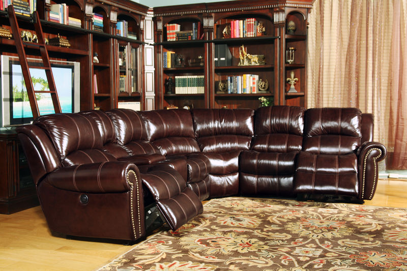 Poseidon Reclining Leather Sectional in Cocoa