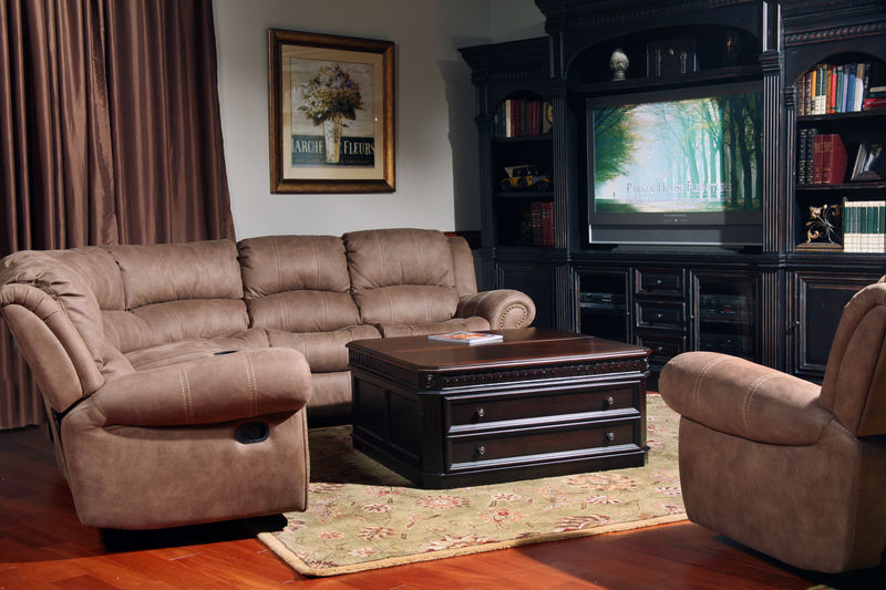 Poseidon Reclining Sectional in Kahlua