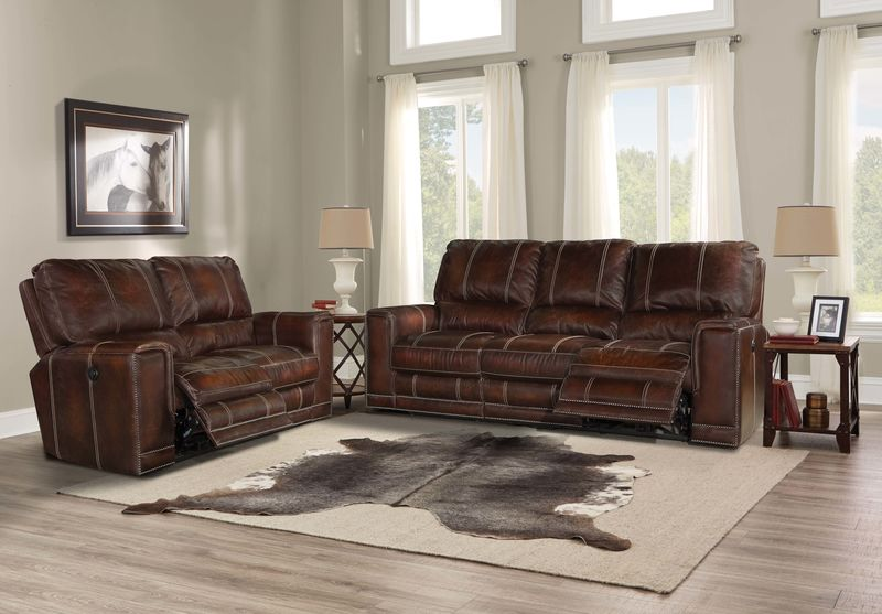 Salinger Reclining Leather Living Room Set in Maple