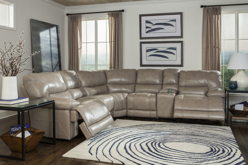 Socrates Reclining Leather Sectional in Latte