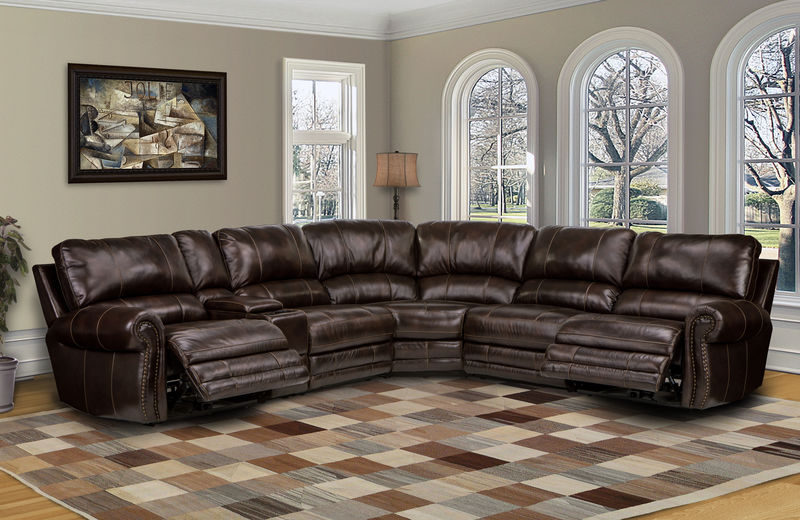 Thurston Reclining Leather Sectional in Havana