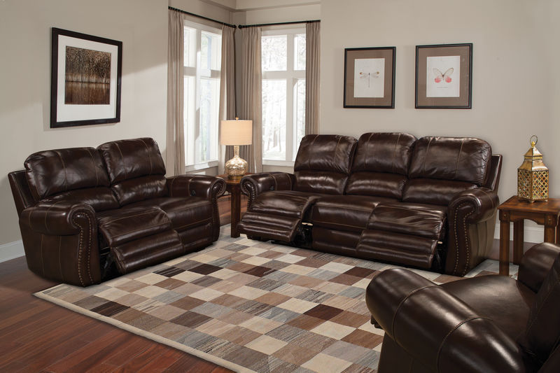 Thurston Reclining Leather Living Room Set in Havana