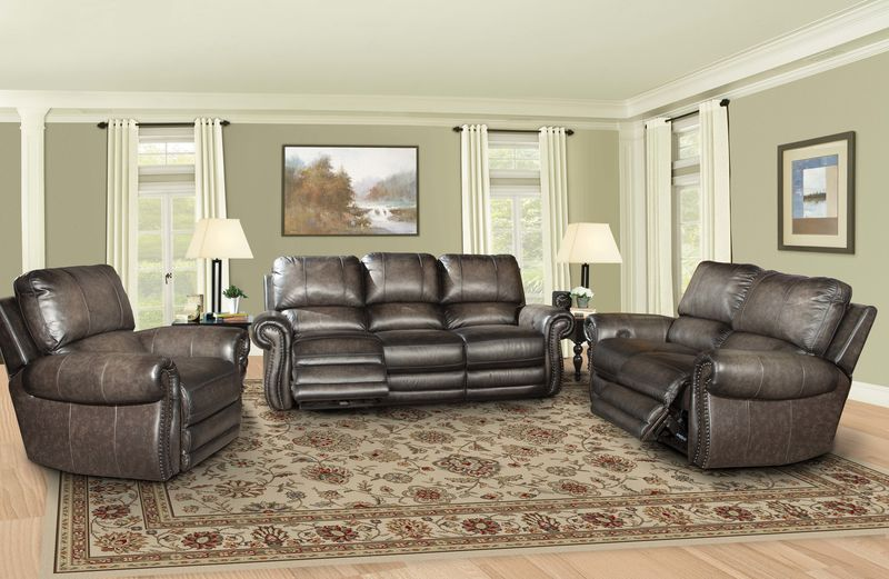 Thurston Reclining Leather Living Room Set in Shadow