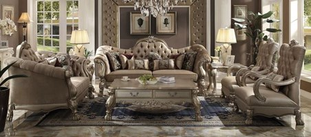 Pisa Formal Living Room Set in Bone Velvet