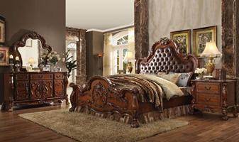 Pisa Bedroom Set in Cherry with Upholstered Headboard