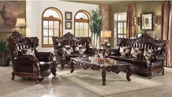 Rho Formal Leather Living Room Set