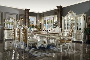 Summer Formal Dining Room Set in Antique Pearl with Cherry Oak Accents