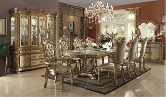 Walther Formal Dining Room Set in Gold